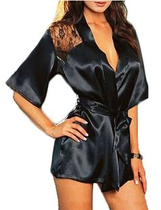 Blidece Sexy Women Lingerie Silk Lace Gown Bath Robe Babydoll Night  Sleepwear Set Usually days delivery to USA 4df887b31