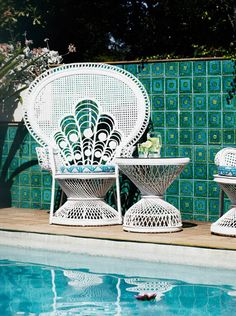 Wicker peacock chairs.