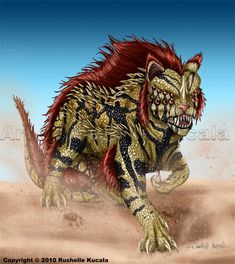 I had a dream not long ago that my dad and I were driving in our neighborhood, which for some reason was right next to a vast desert. Ad while we were talking out of no where this giant cat/reptile...