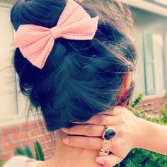 Upside Down Braid and Bow Detail. - Click image to find more hair posts