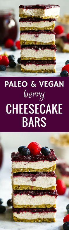 Paleo Vegan Berry Cheesecake Bars via /themovementmenu/