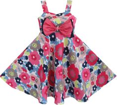 Girls Dress Grey Tank Flower Print Hawaii Dancing Kids Clothes Size 2-8 New