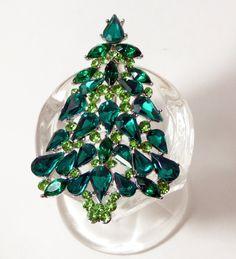 Rhinestone Green Glass Christmas Tree Pin