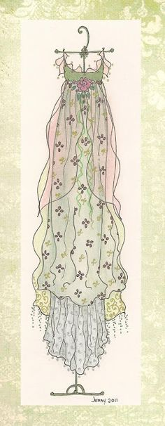 """""""He could never see her come into a room without a sense of the flowing of robes, ofthe flowering of blossoms, of the purple waves of the sea.""""  ~Virginia Woolf, 'Night and Day'  ... Jennelise Rose (drawing dresses)"""