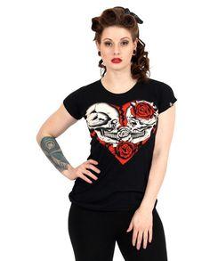 Liquor Brand Damen BROKEN T-Shirts.Oldschool,Tattoo,Pin up,Custom,Biker Style