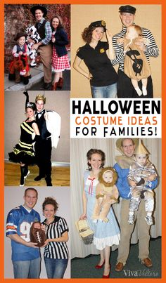 A collection of family Halloween costume ideas for mom, dad, and the baby! These costume ideas are so cute and clever for new families. Holidays Halloween, Halloween Crafts, Halloween Party, Halloween Ideas, Halloween Stuff, Halloween Snacks, Fall Crafts, Halloween Costumes For Girls, Vintage Halloween