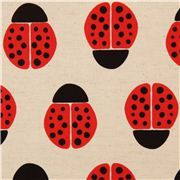 off-white Canvas ladybird fabric by Kokka