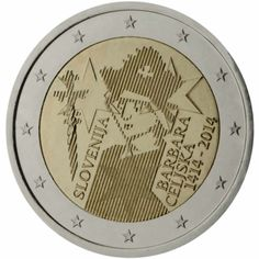 2 euro commémorative 2014 Slovénie - Commémoration de Barbara Cillei  : tirage 1 000 000 ex