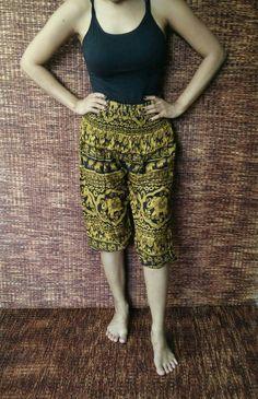 High Waisted long shorts Capri yoga pants Boho by TribalSpiritShop