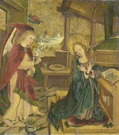 Meester van het Salemer Altaar | Annunciation to the Virgin, Meester van het Salemer Altaar, 1490 - 1510 | De verkondiging aan Maria. Maria knielend voor een lezenaar in haar slaapkamer kijkt op van het boek dat voor haar ligt. Op de achtergrond haar bed. Links staat de engel, in de hemel God de Vader. Waarschijnlijk onderdeel van een altaarstuk met scènes uit het leven van de Heilige Maagd.