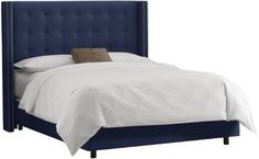 Skyline Furniture Nail Button Tufted Wingback Queen Bed in Velvet Navy Skyline Furniture http://smile.amazon.com/dp/B0084EMAXO/ref=cm_sw_r_pi_dp_uvVpvb0675Q3C