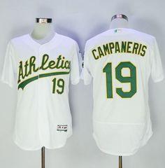 Men's Oakland Athletics #19 Bert Campaneris Retired White Stitched MLB 2016 Majestic Flex Base Jersey