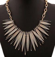 Unique Design! Chic Women's Gold Color Glazed Leaf Necklace