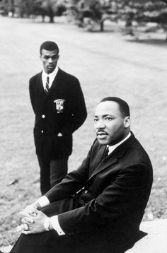 Rev. Martin Luther King Jr. and future Washington, DC, mayor Marion Barry during a civil rights strategy and planning conference at Atlanta University in mid-May, 1960.