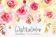 Watercolor floral hand drawn boho clipart. DIY collection with branches, flowers and leaves Bright hand painted watercolour flowers (yellow and pink), leaves for wedding invitations, greeting cards, party invitations, posters, birthday projects, flyers, brochures, covers, presentations, print templates, scrapbooking artworks, baby shower and so on