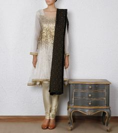 White Anarkali Suit with Gold Work / $350.