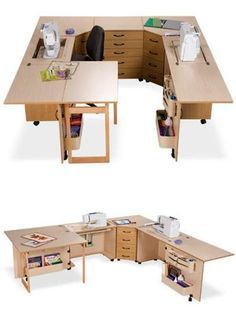 New Photos sewing table height Strategies Sylvia Design Sewing Furniture - Model Wraparound Unit Sewing Room Design, Sewing Room Decor, Craft Room Design, Sewing Spaces, Sewing Room Organization, Sewing Rooms, Diy Sewing Table, Sewing Desk, Sewing Machine Tables