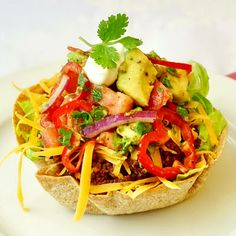 Low Fat Taco Salad with Chunky Avocado Tomato Salsa. A lightened version of taco salad, using a crisp baked tortilla bowl, lean seasoned beef and a delicious homemade salsa. Rock Recipes, Mexican Food Recipes, Ethnic Recipes, Mexican Dishes, Mexican Salads, Mexican Meals, Tostadas, Tacos, Enchiladas