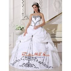 Lovely White Sweetheart Quinceanera Dress with Black Embroidery-... via Polyvore