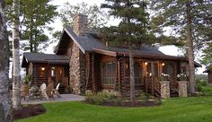 Log cabin and stone chimney