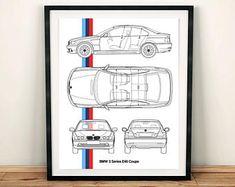 "BMW 3 Series E46 Blueprint, BMW Decor, E46 Coupe, Instant Download, BMW, 3 Series blueprint, Blueprint wall art, 8x10, 11x14"""