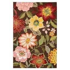 Hand-hooked rug with a multicolor floral motif.   Product: RugConstruction Material: Polyethylene terephthalate a...