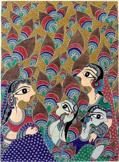 """Radha and Gopi"" by bharti dayal #madhubani, #walldecor, #bhartidayal, #artwork, pepupstreet.com"