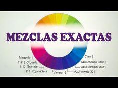 MEZCLAR COLORES. MEDIDAS EXACTAS. Cian, azul cobalto, ultramar, violeta, granate, grosella, magenta - YouTube