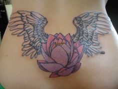 angel+wing+tattoos+with+hearts+for+lower+back | spread your wings with the beautiful tattoo winged around the pink ...