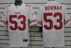 Nike San Francisco 49ers #53 Navorro Bowman White Elite Jersey