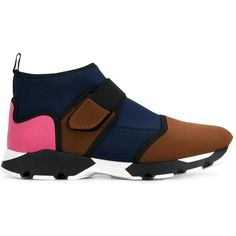 Marni Neoprene Colour Block Sneakers ($640) ❤ liked on Polyvore featuring shoes, sneakers, neoprene shoes, velcro sneakers, color block sneakers, velcro strap shoes and block shoes