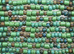 Machu Picchu Opaque Aged Picasso Mix Czech Glass 8mm Vintage Tube Beads and 32/0 (8x5mm) Czech Glass Seed Beads - 10 Inch Strand (DW180) by beadsandbabble on Etsy