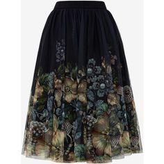 Gem Garden midi tulle skirt (585 BRL) ❤ liked on Polyvore featuring skirts, bottoms, ted baker skirt, floral skirt, midi skirt, flower print skirt and floral printed skirt