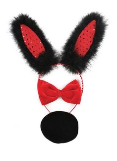 Bunny Ears Set - Black - One Size - These pretty black feather Bunny Ears have red sequins on the inside of each ear, a black satin bow and a soft black bunny tail - #Bunny #Ears Set are a great way to complete any Bunny outfit, Playboy or Normal - Bunny Ears Set are perfect for #FancyDress, #Halloween, #HenNights, #Easter, etc