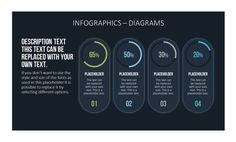 Various diagrams in flat design for creating infographics collected in a Toolbox for PowerPoint.