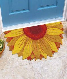 "18""x30""+COLORFUL+COIR+SUNFLOWER+FLOWER+Shape+Out+Door+Mat+Rug+Porch+Patio+Floor+"