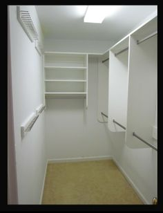 Narrow walk in closet idea...take out the middle bar section, replace with the shelving unit, make it all longer and mirror it on both sides for a his and hers...don't need the hooks