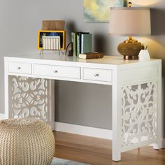 Anchor your office or study ensemble with this essential desk, featuring openwork sides and a white finish.