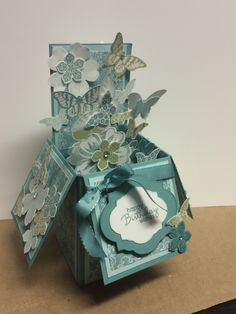 Card in A Box using Lost Lagoon and Pear Pizzazz cardstock and inks as well as Flower Shop, Petite Petals and Papillon Potpourri Stamp sets and punches.  www.sharoncreighton.com
