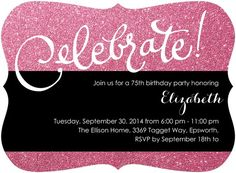 Sparkly Pink 75th Birthday Invitations for Women - the perfect way to add a bit of bling to your party!