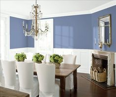 Look at the paint color combination I created with Benjamin Moore. Via @benjamin_moore. Wall: Stratford Blue 831; Trim & Wainscot: Distant Gray 2124-70; Ceiling: Distant Gray 2124-70.