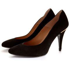 Jazz Heeled Shoe in Black Suede | Heels | Court Shoe | High Heel |... via Polyvore