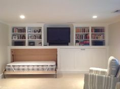 Cape Cod Basement Renovation I wouldn't even do murphy beds - just a cool way to store mattresses for sleepovers. Then they can pull them around to watch tv/play games in bed .....