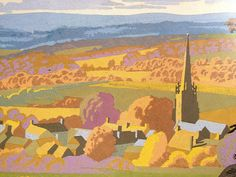 Country Landscape by Brian Cook Art Deco Illustration, Travel Illustration, Graphic Design Illustration, Graphic Art, Railway Posters, Travel Posters, Little England, Illustrations And Posters, Landscape Art