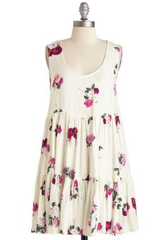 Cayman or Goin'? Dress by Mink Pink - Mid-length, Woven, Floral, Print, Casual, Sundress, Boho, Festival, Sleeveless, Spring, Tent / Trapeze, Scoop, White, Tiered, Beach/Resort, Mini, Summer