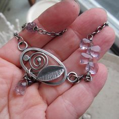 Funky Silver Pendant Necklace Oval Spiral Leaf stamped by artdi
