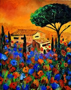Tuscany 452150 by Pol Ledent, original oil on canvas stretched on a wooden frame, 15.75 x 19.69 inches 40 x 50 cm