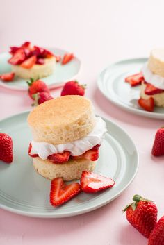 Recipe: One-Bowl Strawberry Shortcakes | Strawberry shortcake is a springtime staple that can hardly be improved upon, unless you can find a faster way to bake a shortcake. Enter: the one-bowl vanilla cake. Mixed in one bowl and baked in a sheet pan, this cake can be baked up from start to finish in less than an hour. Once baked, cut the cake into rounds, top with fresh strawberries and whipped cream, and boom — near-instant strawberry shortcakes for your you and your lucky family and…