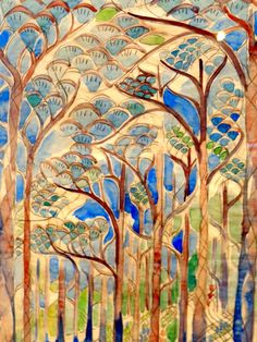 Trees Watercolor - Walter Anderson Anderson Museum - Ocean Springs, Mississippi - photo by Sandy Robert