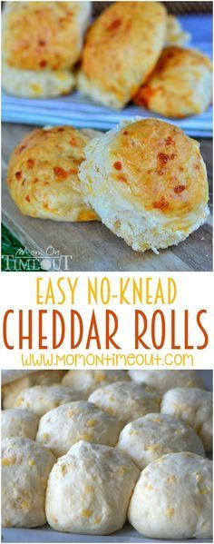 These delicious cheddar rolls are so easy to prepare and require no kneading for us busy moms! You're going to love the super-cheesy taste that goes perfectly with any meal! | http://MomOnTimeout.com